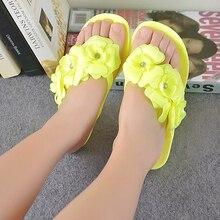 SCYL Summer shoes for women Slippers SCYL Flip Flops Women Sandals Female Sandals flower jelly sandals slippers yellow
