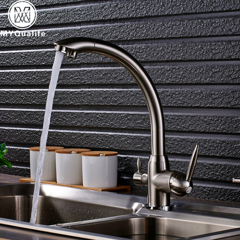 Brand New Kitchen Sink Faucet Tap Pure Water Filter Mixer Crane Dual Handles Purification Kitchen Hot and Cold Faucet golden brass kitchen faucet dual handles vessel sink mixer tap swivel spout w pure water tap