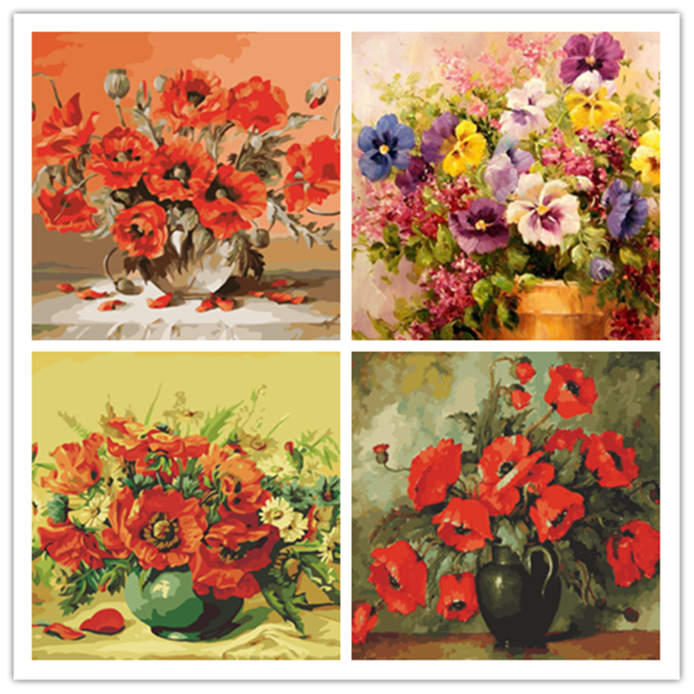 Red Poppy Vase Flower Picture Drawing By Numbers Coloring By Number Canvas Painting For Wall Art