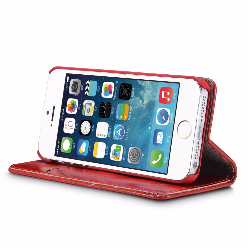 CaseMe For iPhone 5 5s SE Luxury Retro Magnetic Leather Stand Flip Wallet Card Pocket Phone Back Case Cover Skin For iPhone 5 in Wallet Cases from Cellphones Telecommunications