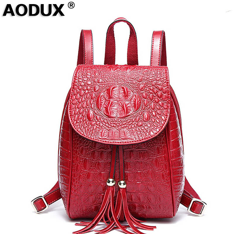 AODUX Spring Small Famous Brands Alligator Pattern Backpacks Genuine Leather Second Layer Cowhide Women's Backpack School Bags aodux 2018 famous brand 100