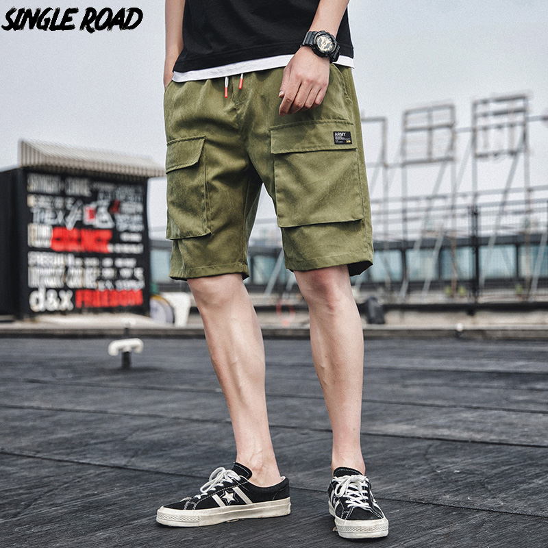 Bermuda Casual Joggers Cargo-Shorts Pockets Hip-Hop-Streetwear Knee-Length Summer Fashion