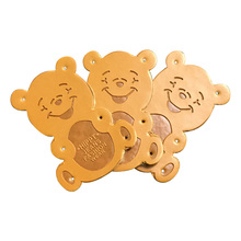 48pcs/lot Lovely bear children labels for clothing hand made sewing gift leather label for kids clothes hand made leather tags win win logo hand made leather labels for gift sewing win logo hand made tags for clothes gift handmade leather sewing label