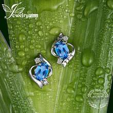 JewelryPalace Oval 1.1ct Natural London Blue Topaz Stud Earrings Genuine 925 Sterling Silver 2016 New Fine Jewelry For women