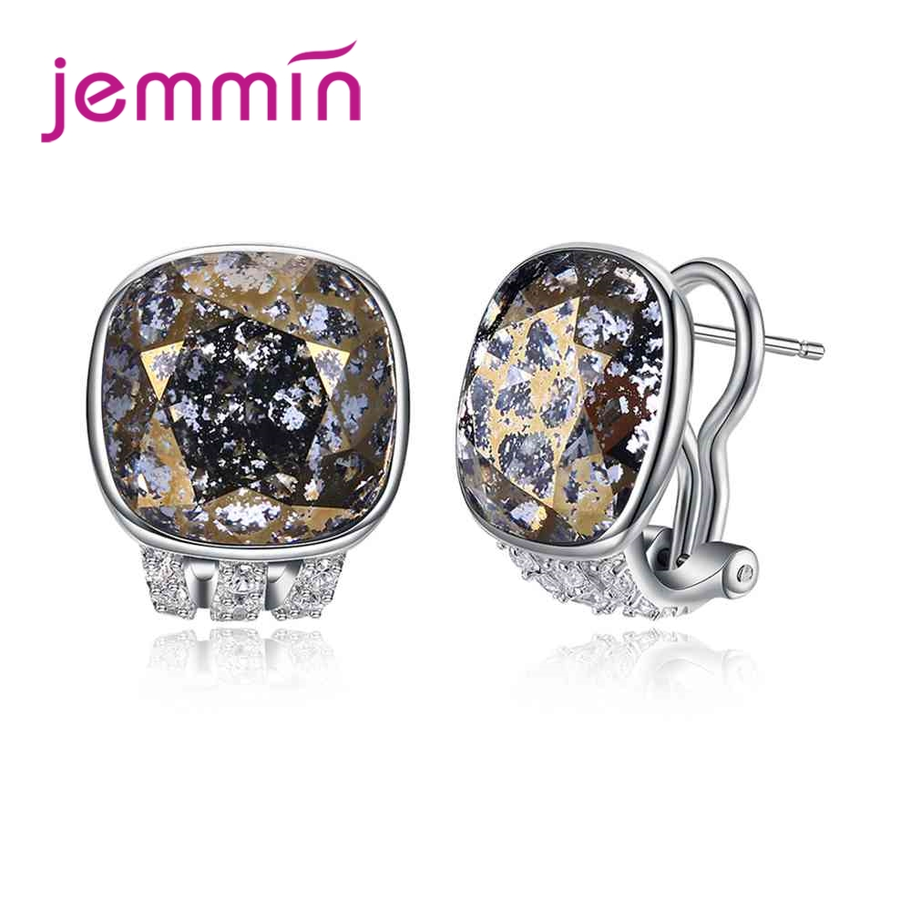 JEMMIN Classic Square Shape Gold Statement Pattern Hoop Earrings For Women Girls Pretty Good Surprise 925 Sterling Silver statement hollow out hoop earrings