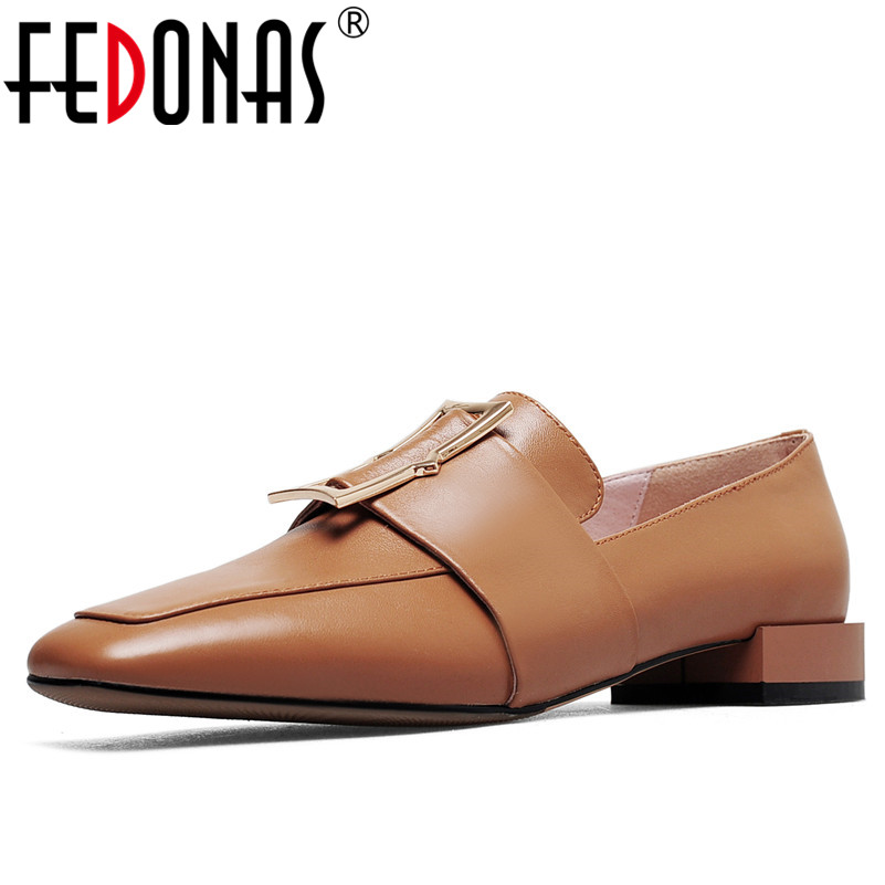 FEDONAS Women Pumps Genuine Leather Shoes Woman Low Square Block Heel Square Toe Casual Office Party Wedding Lady Shallow Pumps