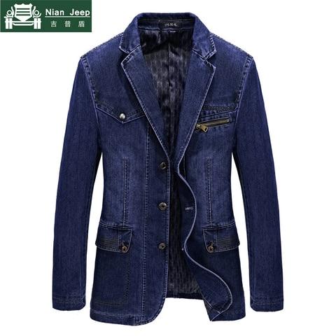 Fashion Jeans Blazers Men Business Casual Slim fit Suits Jacket hombre Cotton Multi-pocket Denim Blazer masculino Size L-3XL Pakistan