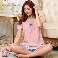 TInyear новый случайный домашней одежды женщин короткий пижамы горошек с коротким рукавом костюм сна шею 2 шт. пижамы розовый цвет