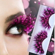 1Pair Rose Dot Ball Polka Dot Feather Eyelashes Extension False Eyelashes Fake Eye Lashes Fashion Halloween Studio Party(China (Mainland))
