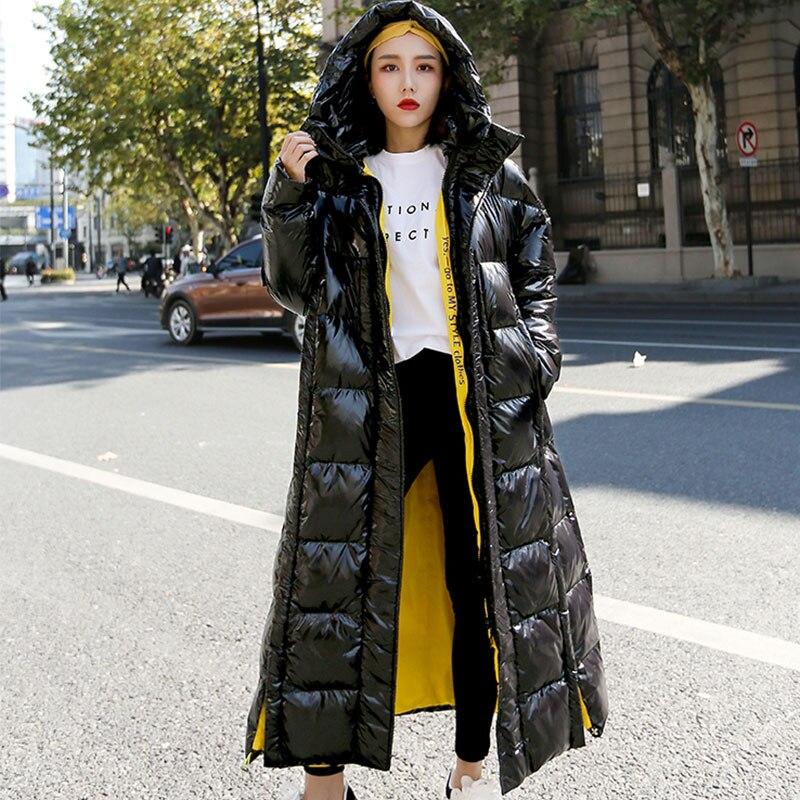 Pour Grande Femme Coton sweatshirt Parka Vêtement De À Black Épais Long Capuche Nouvelle Manteau Mode 87 Hiver Lâche Dessus Genou Du X Taille Doudoune PxqXI41