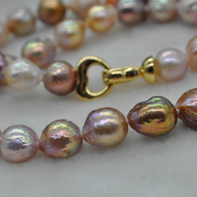 Gorgeous multicolors Kasumi FW pearl set necklace & bracelet 9-11mm