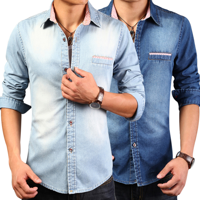 dd71c4423044b Fashion 2017 Men Denim Shirt Autumn Cotton Long Sleeve Casual Slim Men  Turndown Collar Shirts Chemise
