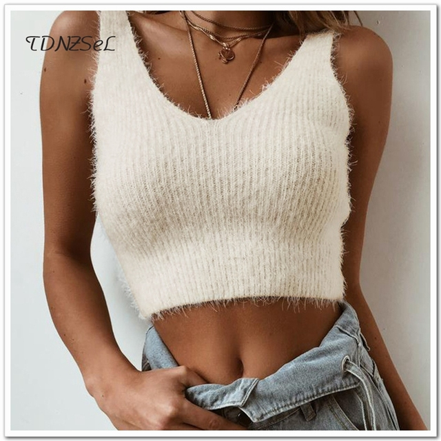 Autumn Winter Sexy Women Knitted Hairy Sweater Camis Sleeveless Short Mini Crop Tops Backless V Neck Casual Wool Warm Tank Top