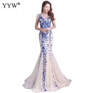 Image 3 - Elegante lantejoulas feminino luxo longo vestido de noite formal clube festa vestidos bordado cheongsam tradicional chinês sereia vestido