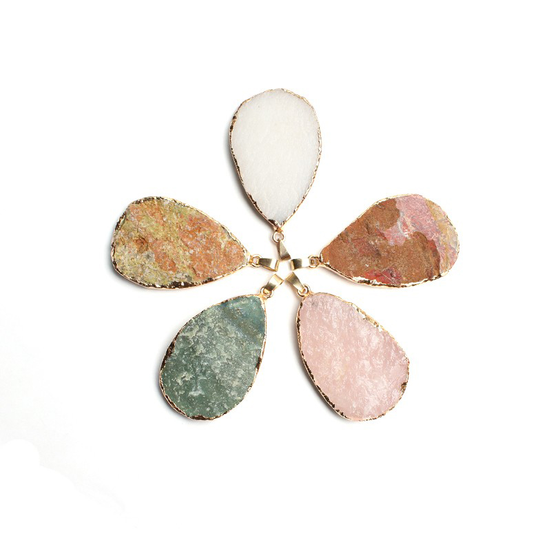 Natural Rough Stone Necklace Pendant 32*50mm Water Drop Pendant Rose Quartz White Agate Red Jasper Stone Charms Jewelry