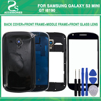 New I8190 Full Housing For Samsung Galaxy S3 mini GT I8190 Battery Cover+Front MiddleFrame +Outer Front Glass Lens Screen+Tools