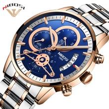 Relogio Masculino NIBOSI Роскошные для мужчин наручные часы нержавеющая сталь спортивные Человек золото мужской часы Лидирующий бренд бизнес