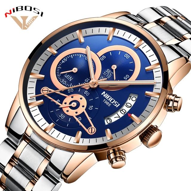 ea0009bebc6 Relogio masculino NIBOSI Esporte Homem Relógio de Aço Inoxidável Relógios  de Pulso dos homens de Luxo