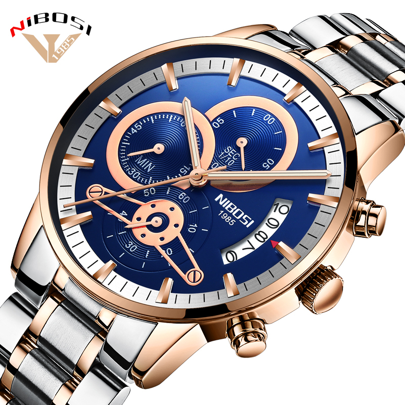 Relógio de Aço Relógios de Pulso dos Homens Homens de Luxo de Ouro Marca de Topo de Negócios Relogio Masculino Nibosi Esporte Homem Inoxidável de Luxo de Ouro Masculino Relógios Relógio