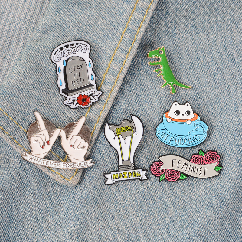 Dinosaur Halloween Coffee Cat Brooches Enamel Lapel Pin Backpack Bag Accessories Gift For Women Girls