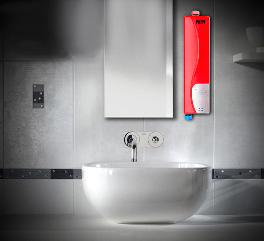 gzu electric water heater instant electric indoor tankless water heater kitchen bathroom mini instant hot water heater hy3007