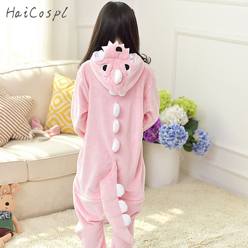 Dinosaurio Onesie Pajama Set Kigurumi Animal Cosplay Costume Pink Cute Winter Warm Soft Flannel Jumpsuit Children Party Wear