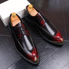 Italy Style Men Leather Shoes Black/Red Business Dress Shoes Leather Lace-up Pointed Toe Small Metal Tip Formal Zapatos Hombre new arrival black alligator genuine leather handmade metal tip spikes pointed toe slip on formal dress shoes sexy fashion mans