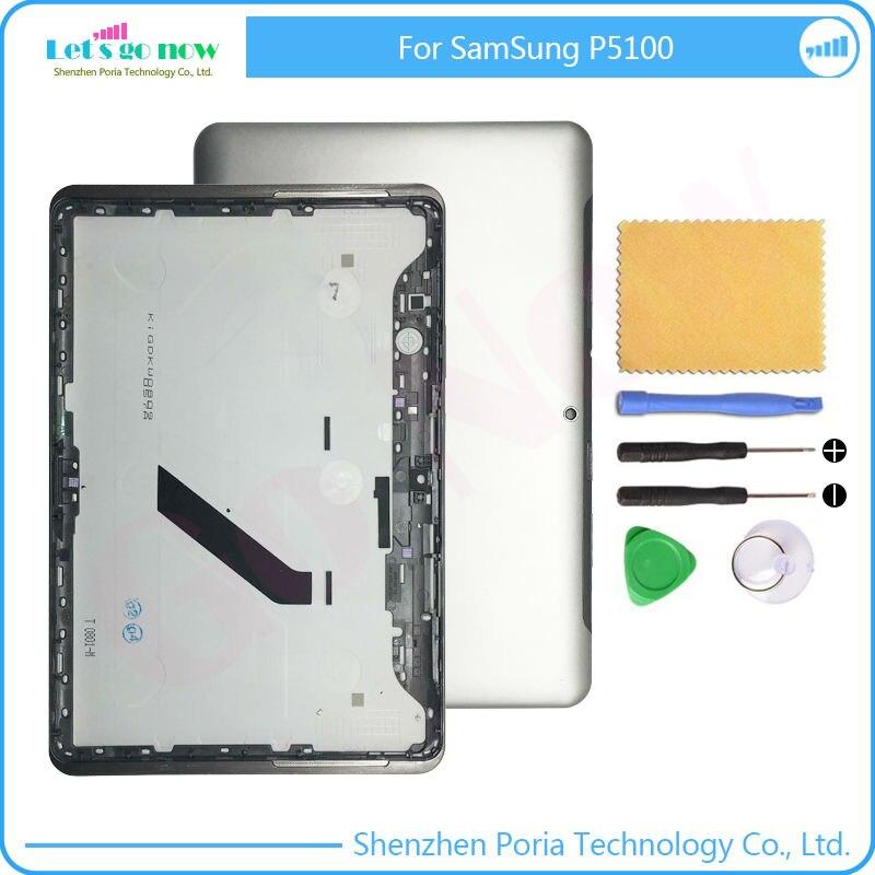 Flporia Натуральная Для Samsung Galaxy <font><b>Tab</b></font> 2 P5100 Батарея задняя крышка Корпус белый/серый с бесплатной Инструменты