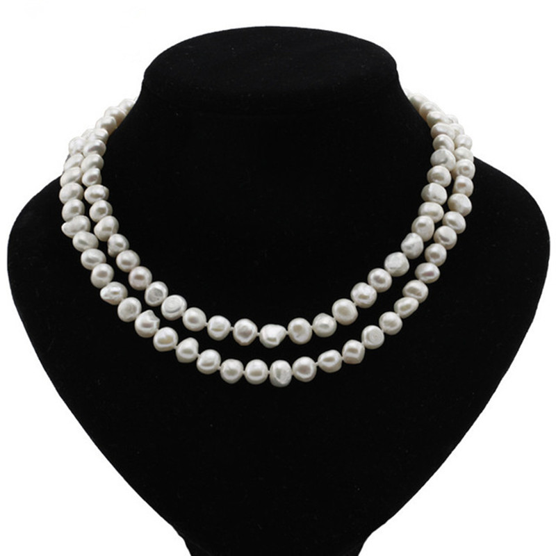 Buy SNH 8mm baroque AA 100% natural cultured freshwater pearl necklace for woman white real genuine baroque pearl necklace jewelry for $13.00 in AliExpress store