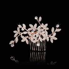 2017 New Arrival Hot Selling Rose Gold Rhinestones Crystals Flower Leaf Wedding Hair Comb Bridal Hair