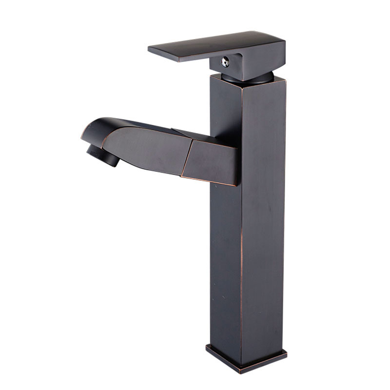 Tall Black Pull Out Square Bathroom Faucet Basin Sink faucet Mixer Tap Cold Hot Water Tap Single Handle Retail Wholesale JK004T free shipping tall wall mounted black painted bathroom faucet double wheel handle black bronze basin sink mixer tap b 015