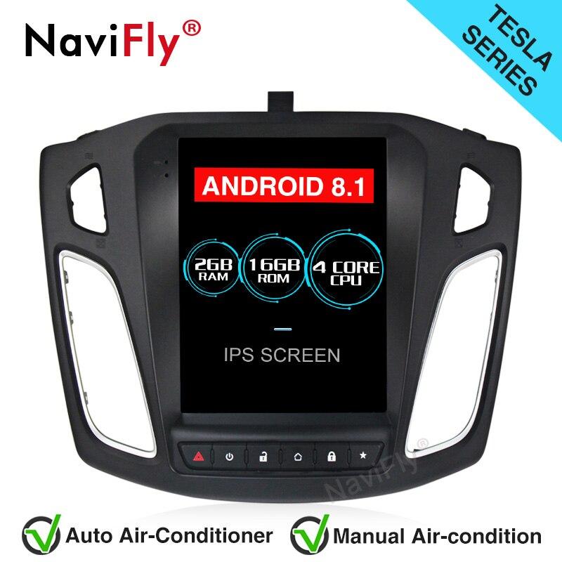 NaviFly Tesla Estilo Android 8.1 tela IPS de Navegação GPS Rádio Do Carro para Ford FOCUS 2012-2017 com WIFI BT ligação espelho FM RDS