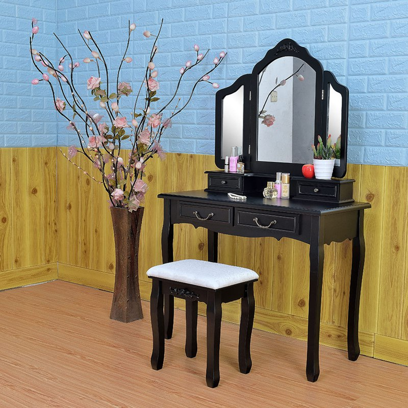 Wooden Dressing Table Makeup Desk with Stool Tri-fold Mirror 5 Drawers Black Bedroom Furniture Dropshipping