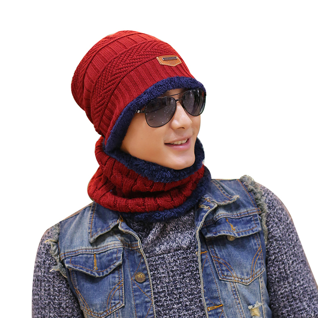 New 2016 winter mens warm Knit hat Caps sets with fur inside Hat+scarf 6 colors m350