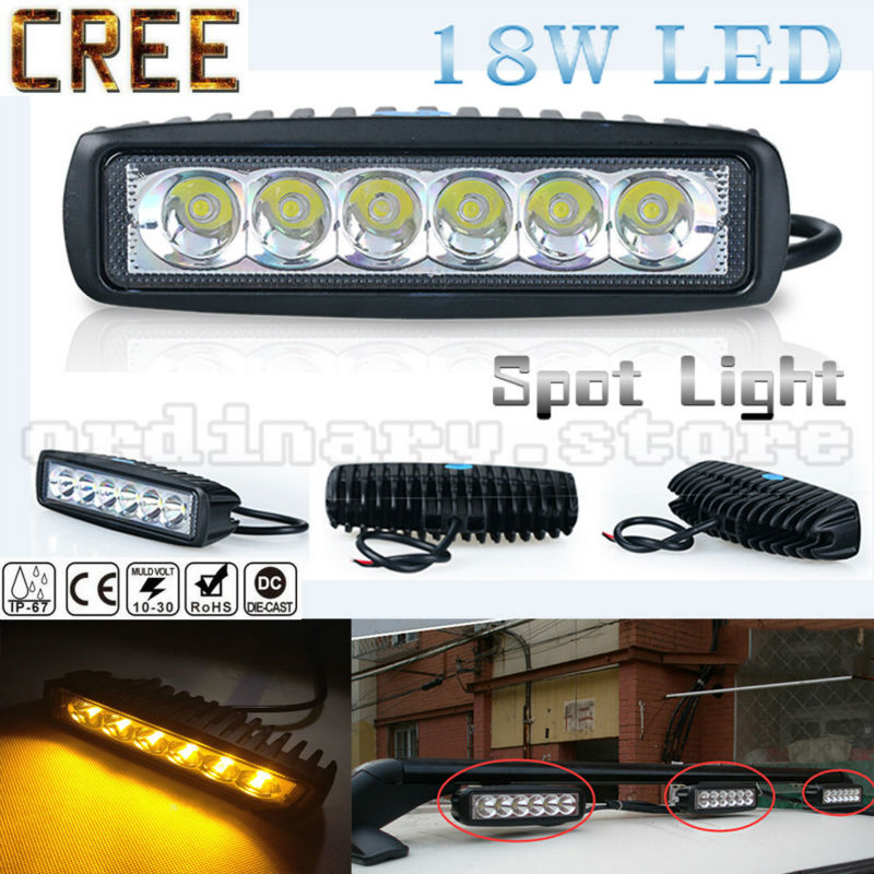 Super Bright Amber Work Fog Light 18W 6 LED Car Auto Truck Offroad SUV 4WD ATV Boat Bar Driving Night Spot Lamp Waterproof