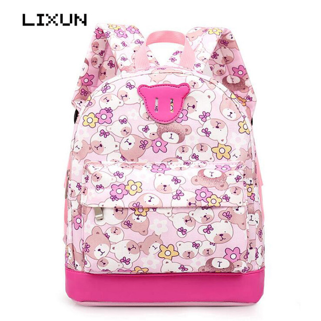 LIXUN Kids Oxford Cartoon Cute Bear Backpacks For Toddler Girls ...