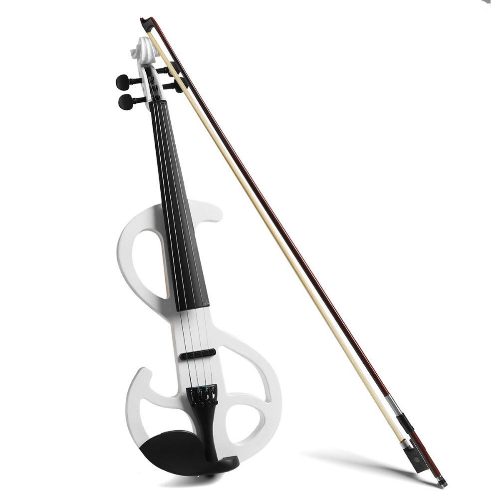 Full Size 4/4 Maple Electric Violin With Ebony Fittings Cable Headphone Case kinglos advanced electric art full size violin white & black solid wood silent violin 4 4 ebony fittings w parts dsg 1802