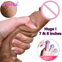 7,8 дюймовые силиконовые реальное ощущение кожи изгиб огромный фаллоимитатор реалистичный пенис, секс-игрушки для взрослых мягкий большой ч...