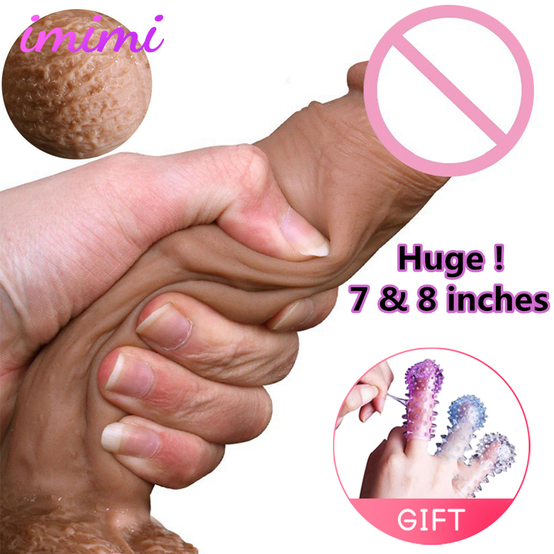 7,8 inches Silicone Real Skin Feeling Bend Huge Dildo Realistic Penis Sex Toys for Adult Soft Big Dick Keel & Suction Cup Dildos