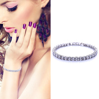 PjNewesting Top AAA Cubic Zirconia Silver Color Charm Bracelets For Women Classic Weeding Jewelry Lady Luxury