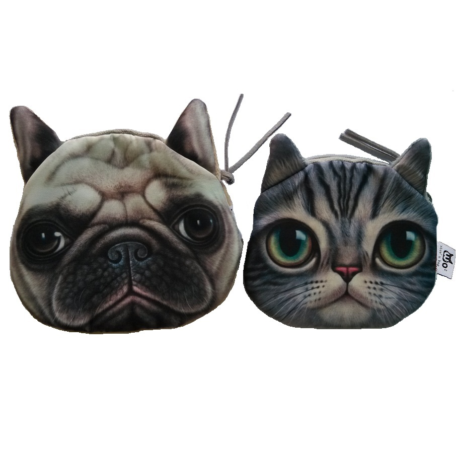 Cute Animal Coin Purse female Wallet / child purse Makeup Buggy Bag Pouch Cat /Dog emoje Face Bag Coin Change Purse Case