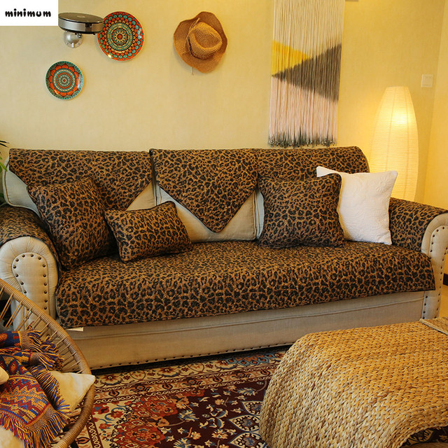 Leopard Grain Luxurious Cotton Sofa Towel Cover Festive Anti Skid Sofa  Cushion Folk Custom