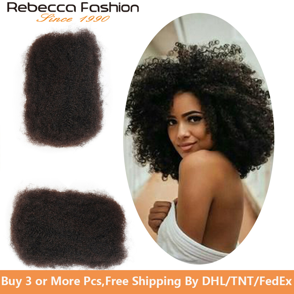 Rebecca Fashion Malaysia Remy Human Hair Afro Kinky Curly Bulk Extensions Braiding Hair Dreadlocks Crochet Bulks 50g Per PCS
