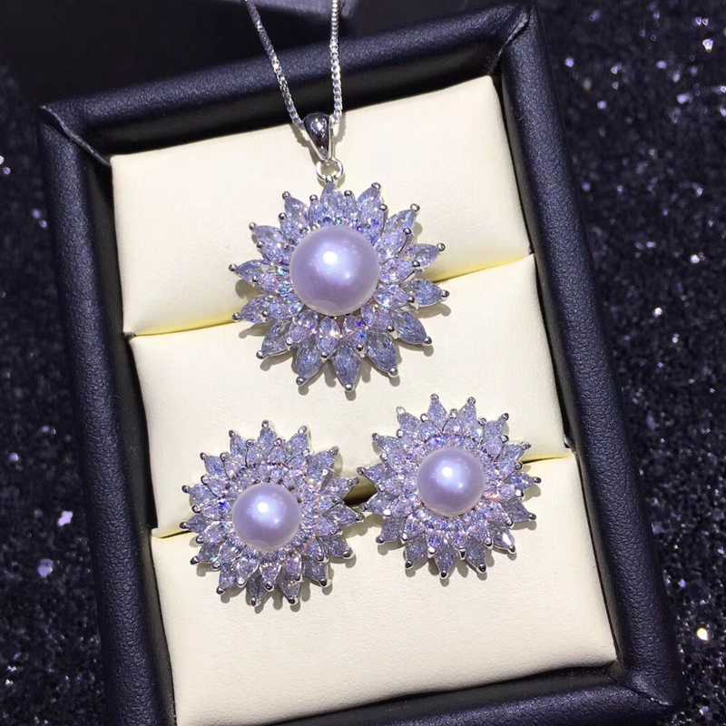 2019 Mode Perle Schmuck Sets 925 Sterling Silber Ohrringe Anhänger Für Frauen Natürliche Perle Anhänger Halskette Ohrringe Exquisite Geschenk Box Neue Noch Nicht VulgäR
