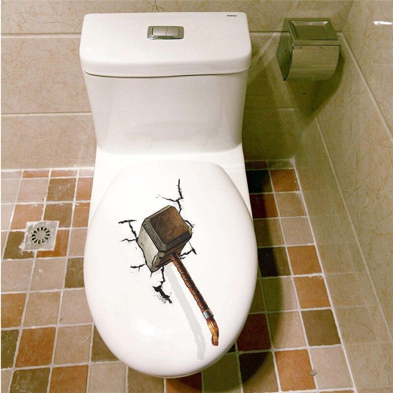 Тора Молотки мьельнир 3D Туалет Наклейки украшения дома adesivos де Parede дома Таблички фильм настенная Книги по искусству