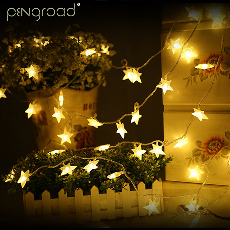 3M LED Star String Lights Christmas Holiday Decoration Star Fairy Light AA Battery Operated 20leds Festoon Light Chain SL057
