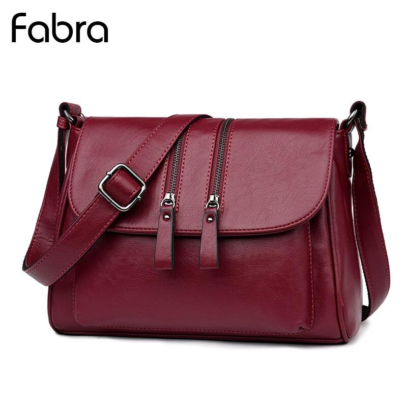 Fabra Ladies Zipper Design Women PU Leather Crossbody Messenger bag Small Shoulder Bags Pillow Closure Handbag Purses Wine Red