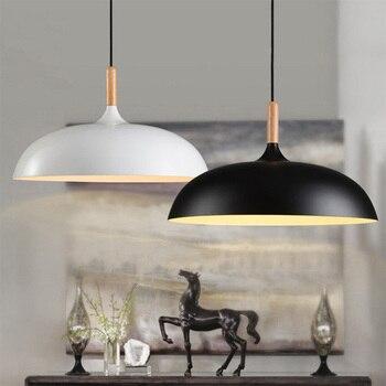 Минималистичные современные подвесные лампы E27 Деревянный алюминиевый абажур подвесные светильники для спальни искусство модный Декор Св...