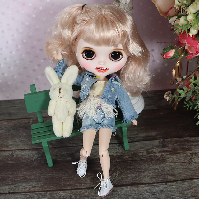 ICY blyth doll hand painted matte face white skin cute golden curls hair suit doll with teeth lips eyebrows 30cm DIY BJD SD gift