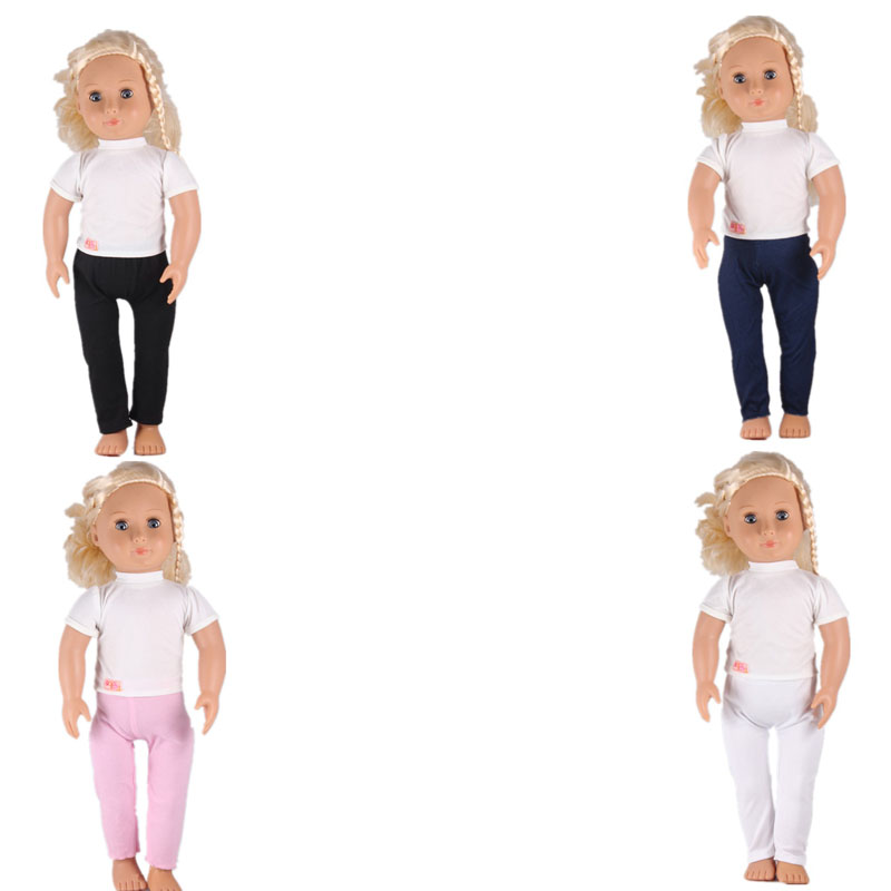 Baby Born Doll Clothes White Short Sleeve Choker Top Tees T Shirt Crop Top Pants For 18 Inch American Girl Doll Best Baby Gift